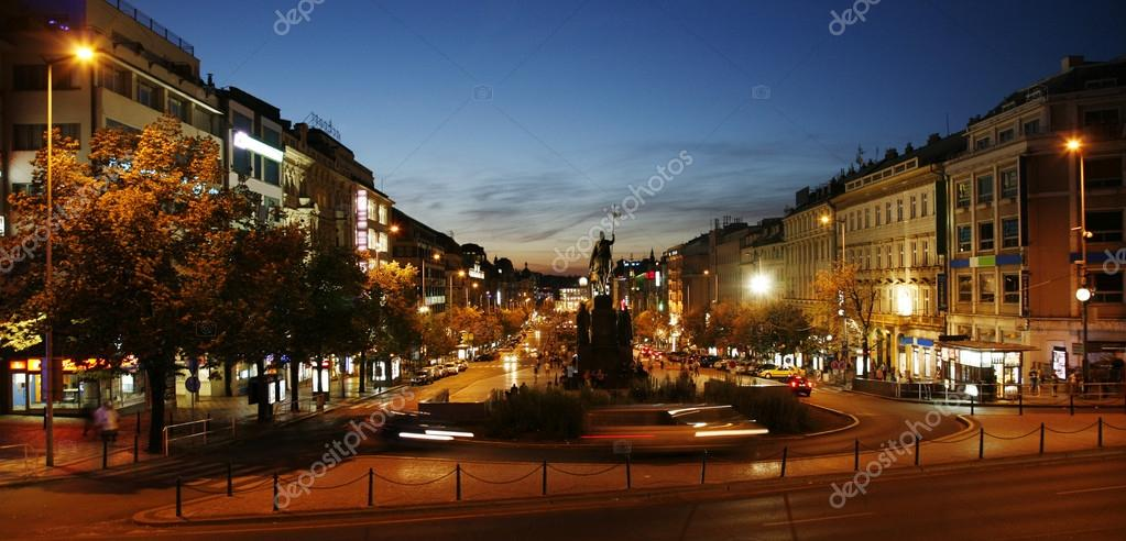 Night view of Wenceslas Square, Prague, Czech republic  Stock Photo #13211672