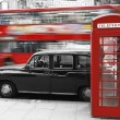 London Phone Booth and Taxi — Stock Photo