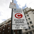 Stock Photo: London congestion charge zone sign
