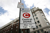 London congestion charge zone sign — Stock Photo