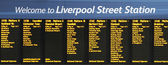 Placa de indicador de trem, liverpool street — Fotografia Stock