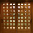 Double wooden doors - Stock Photo