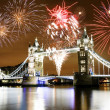 Fireworks over Tower Bridge - Stock Photo