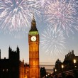 Fireworks over Big Ben — Stock Photo