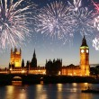 Stock Photo: Fireworks over Palace of Westminster