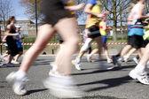 Marathon runners, motion blurred — Stock Photo