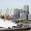 London skyline, include O2 Arena,  skyscrapers in the background — Stock Photo