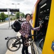 Folding bicycle on a Public Transport — Stock Photo
