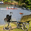Single Folding bicycle near Thames River — Stock Photo #27073465