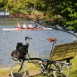 Single Folding bicycle near Thames River — Stock Photo #27073647