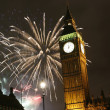 2013, Fireworks over Big Ben at midnight — Stock Photo