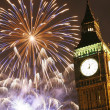 Stock Photo: 2013, Fireworks over Big Ben at midnight