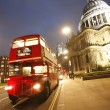 London Routemaster Bus and St Paul's Cathedral at night — Stock Photo
