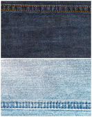 Set of jeans texture backgrounds with seam — Stock Photo