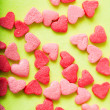 Sweet colorful candy hearts background — Foto Stock