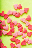 Sweet colorful candy hearts background — Stock Photo