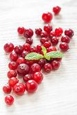 Cranberries on white table — Stok fotoğraf