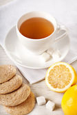 Hot tea in white cup — Stock Photo