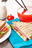 Fresh hot sandwiches breakfast meal — Stock Photo
