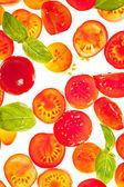 Sliced tomato isolated food frame background — Stock Photo