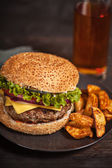 Fresh burger fast lunch  meal — Stock Photo