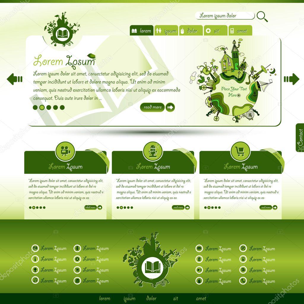 Stock Illustration Green Eco Website Template