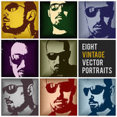 Vintage vector portraits — Stock Vector