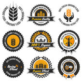Organic wheat label set — Stock Vector