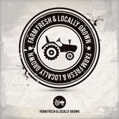 Alternative farm fresh & locally grown stamp — Stock Vector