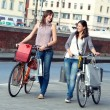 Two Beautiful Women Walking in the City with Bicycles and Bags — Stockfoto