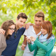 Group of teenagers posing for a photography — Stock Photo