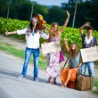 Hippie Group Hitchhiking on a Countryside Road — Stock Photo #13499467