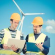 Two Engineers in a Wind Turbine Power Station — Stock Photo #13536188