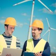 Two Engineers in a Wind Turbine Power Station — Stock Photo #13536239