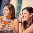 Happy Young Woman Drinking — Stock Photo