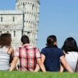 Four Friends on Vacation Visiting Pisa — Stock Photo #15718149