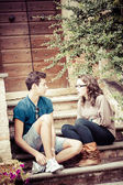 Young couple having fun in the park — Stockfoto