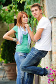 Young couple having fun in the park — 图库照片