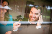 Really happy event at the telephone — Stock Photo