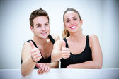 Two Smiling Persons after Fitness Exercises — Stock Photo