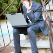 Tired Man Businessman overworking outdoors — Stock Photo