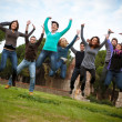 Royalty-Free Stock Photo: Group of Happy College Students Jumping at Park