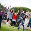 Group of Happy College Students Jumping at Park — Stock Photo #21681711
