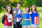 Young group of happy students showing thumbs up sign together ou — Stock Photo