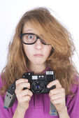 Young photographer shocked — Foto Stock