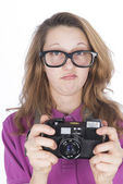 Young photographer nerd — Stock Photo