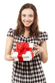 Brunette girl opening gift box — Stock Photo