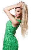 Portrait of girl with long blond hair — Stock Photo