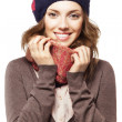 Portrait of girl in beret and scarf — Stock Photo