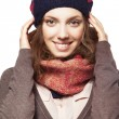 Portrait of girl in beret and scarf — Stock Photo #24472329